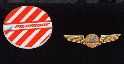 """Vintage Piedmont Airlines Buttons (2.5"""" x 2.5"""") and Wings"""