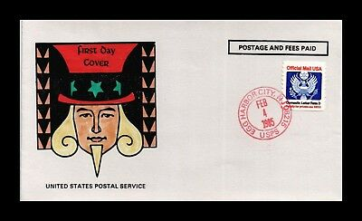 Dr Jim Stamps Us Uncle Sam Hand Colored Egg Harbor City Cover 1985 Official Mail