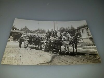 Vintage Rppc Postcard Fire Dept Horse Drawn Fire Engine From Man Kansas