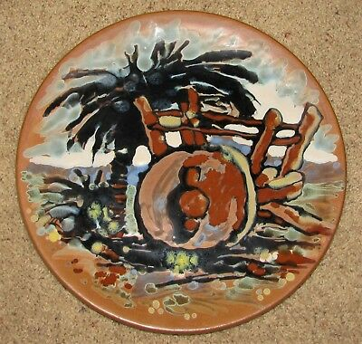 Early Catalina Island Pottery Charger Hand Painted Impressionist Scene Scarce