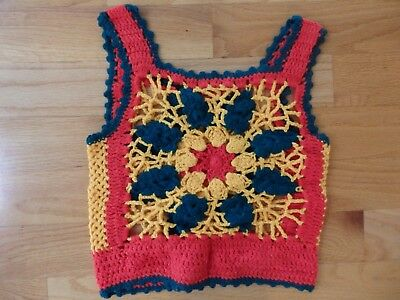 """Vintage Handmade Crocheted Girls Vest Bright Colors Red Yellow Green 15"""" Chest"""