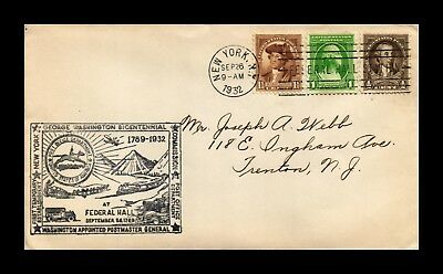 Dr Jim Stamps Us George Washington Bicentennial Federal Hall Combo Cover 1932