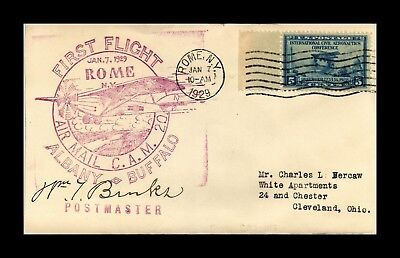 Dr Jim Stamps Us Rome New York Cam 20 First Flight Air Mail Cover 1929 Cleveland