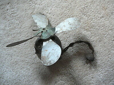 GE ANTIQUE ELECTRIC FAN MOTOR WITH TWO BLADES - BRASS TAG - PARTS or REPAIR
