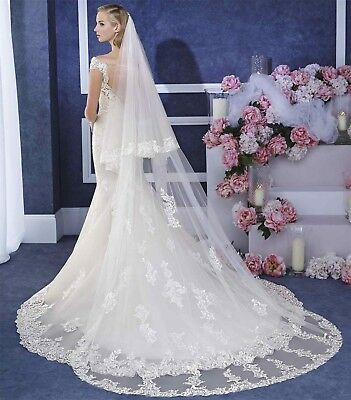 Embroidery Lace Wedding Veils Cathedral 2 Tiers Comb Bridal Headpiece Cover Face