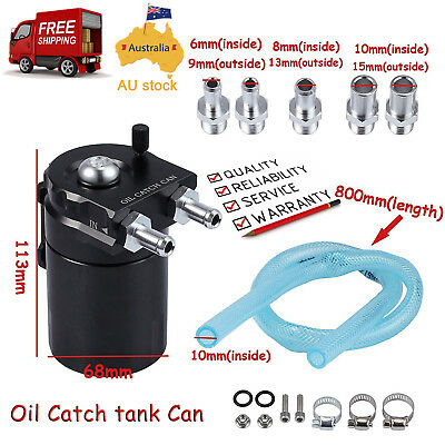 Black Oil Catch Can Kit Baffled with Breather Turbo Tank Petrol with Filter AUS