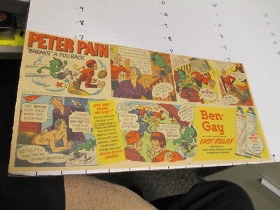 newspaper ad 1940s BEN GAY Peter Pain relief monster demon comic strip FOOTBALL