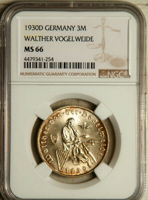 Ngc Ms-66 Weimar Republic (Germany) Silver 3 Mark 1930 (Highest Graded) Pop: 1/0