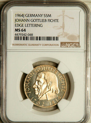 Ngc Ms-64 Germany Silver 5 Mark 1964 (Fichte)