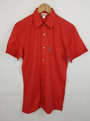 """Vtg 1970s Red Short Sleeve French Polycotton Shirt Mod Disco -14.5""""/S- HB45"""
