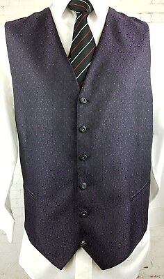 Vtg Mens Single Breast Black / Purple Paisley Pattern Waistcoat -46- HB60