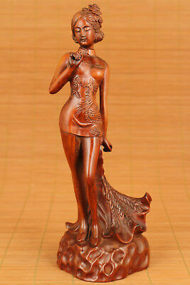 Big unique Old boxwood Hand Carved phoenix cheongsam Girl Statue home decoration