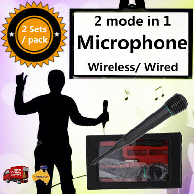 2PCS 2in1 Pro Wireless Cordless Microphone System Wired Professional Karaoke MIC