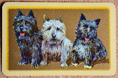 Dogs- 3 Cairn Terriers On Gold- Single Vintage English Linen Swap Playing Card