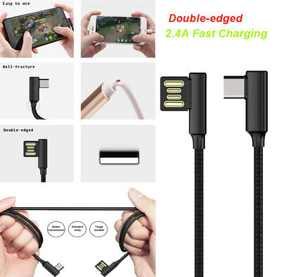 Braided 90° Degree Right Angle Type C Fast Data Sync USB-C Charger Cable