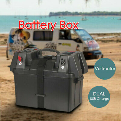 Battery Box with Voltmeter and two USB Charge For Boats Campers Caravan