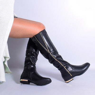 Womens Ladies Knee High Long Boots Faux Leather Everyday Winter Knee Shoe Size