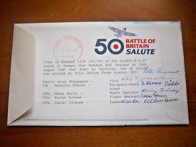 B.o.b Cover Multi Signed By German Crew Of Heinkel 111P Shot Down By Spitfires