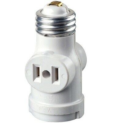 Leviton 1403-W Keyless Lampholder With Outlet, 660 Watts, 120 Volts