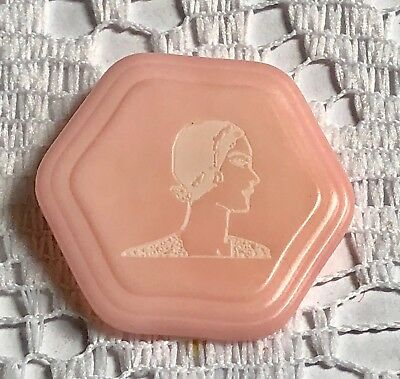 Lady's head silhouette Vegetable Ivory button, dyed pink & laser etched, hexagon