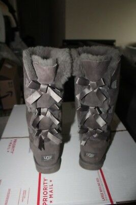 1ccf8e68833 UGG AUSTRALIA BAILEY triple Bow Genuine Sheepskin Tall GRAY Boot 1007308  Size 8
