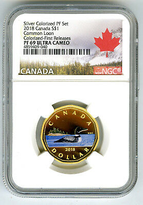 2018 $1 Canada Loon Gilt/gold Silver Colored Proof Ngc Pf69 Uc Loonie Dollar Fr