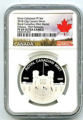 2018 23g CANADA ROYAL CANADIAN MINT OTTAWA SILVER PROOF NGC PF69 FIRST RELEASES