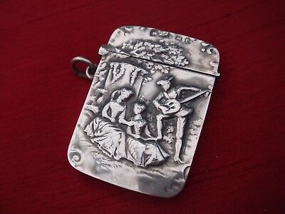 Fine Solid Sterling Silver Hallmarked Dutch Scene Vesta Case Match Safe