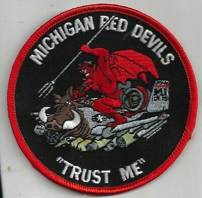 USAF 107th  FIGHTER SQ PATCH    'MICHIGAN RED DEVILS'  'TRUST ME'         COLOR