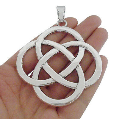 2pcs Antique Silver Tone Large Chinese Knot Charms Pendants for Necklace Making