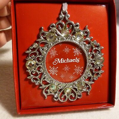Metal Wreath / photo holder Bejeweled Christmas Ornament from Michaels - NEW