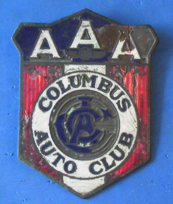 EARLY Vintage AAA Columbus Auto Club Enamel / Porcelain Licence Plate Topper