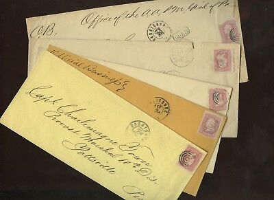 Collection of 5 Covers~All Charlemagne Tower,Provost Marshal~Post Civil War Mail