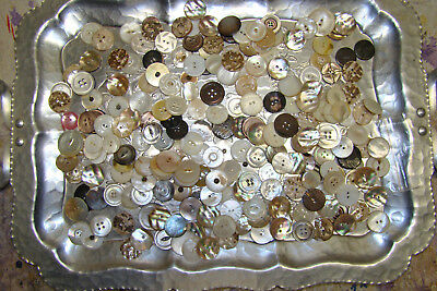 """1 Pound Vintage Variety Sizes Mother of Pearl MOP buttons approx 3/4"""" to 1 1/8"""""""
