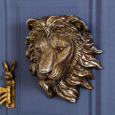 Antique Gold Lion Head Wall Mounted Art Deco Vintage Chic Style Home Living