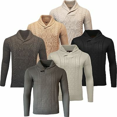 Mens Chunky Cable Knit Weaves Jumper Thick Warm Winter Knitted Wool Mix Sweater