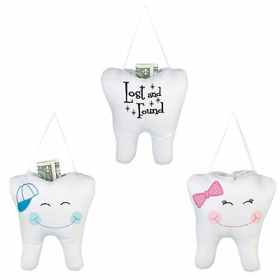 Cute Quality Embroidered Cap Bow Or Lost & Found Tooth Fairy Pillow With Pouch