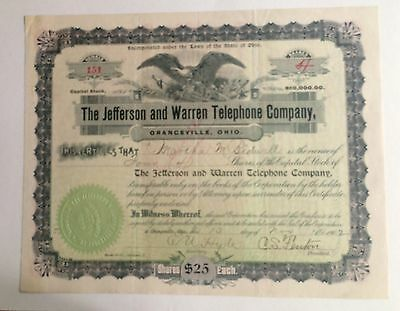 The Jefferson And Warren Telephone Co Stock Oh 1902 Rare!