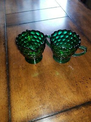 Vintage Anchor Hocking Forest Green Bubble Glass Creamer and Sugar Bowl