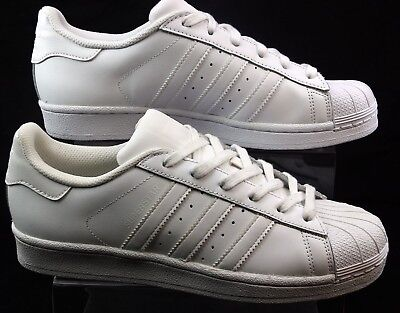 Boys Junior Adidas Originals Superstar White Leather Skate Trainers Size 6 Faded