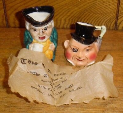Two Vintage England Miniature Toby Jugs - Dickens Old Curiosity Shop London