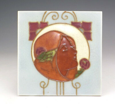 Antique English Pottery - Tube Lined Art Nouveau Tile - Unusual!