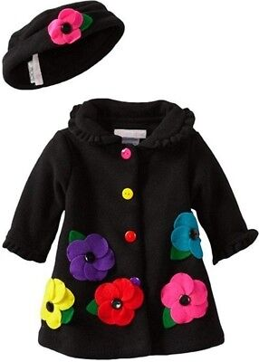 Bonnie Jean Toddler Girls' Fall Winter Black Fleece Flower Coat & Hat 2T New