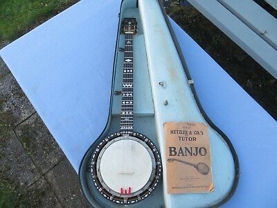 Spectacular 5 string zither banjo made by William Temlett, London with hard case