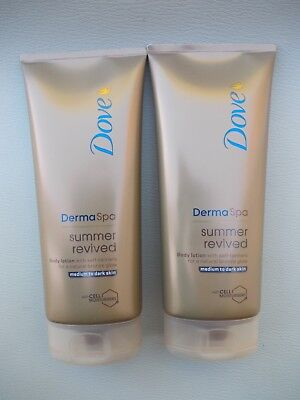 2 X Dove DermaSpa Summer Revived Medium to Dark Gradual Self Tan 200ml