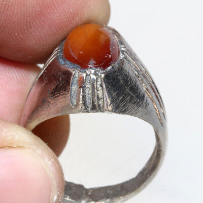 Intact Post Medieval Greek Silver Ring With nice Gem Stone