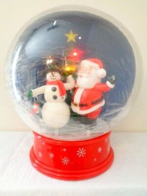 Gemmy Christmas Snowglobe Santa & Snowman Animated Lights Music Toy Decoration