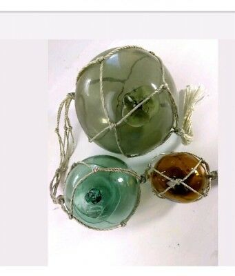 """Vintage Japanese Glass Fishing Net Float Buoy 5.5"""" 3.5"""" 2.5"""" One Marked D.G_#660"""