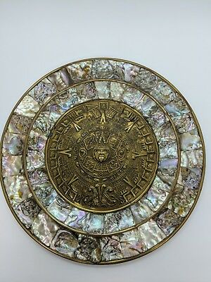 Aztec Mayan Brass Plate and Mother of Pearl Sun Calendar Platter Plaque Wall Art