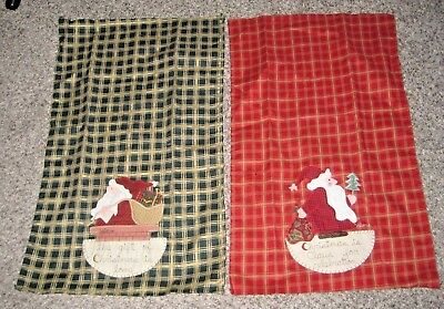 Pair of Hand Crafted Cotton Kitchen Towels - Appliqued - Christmas Santa Theme